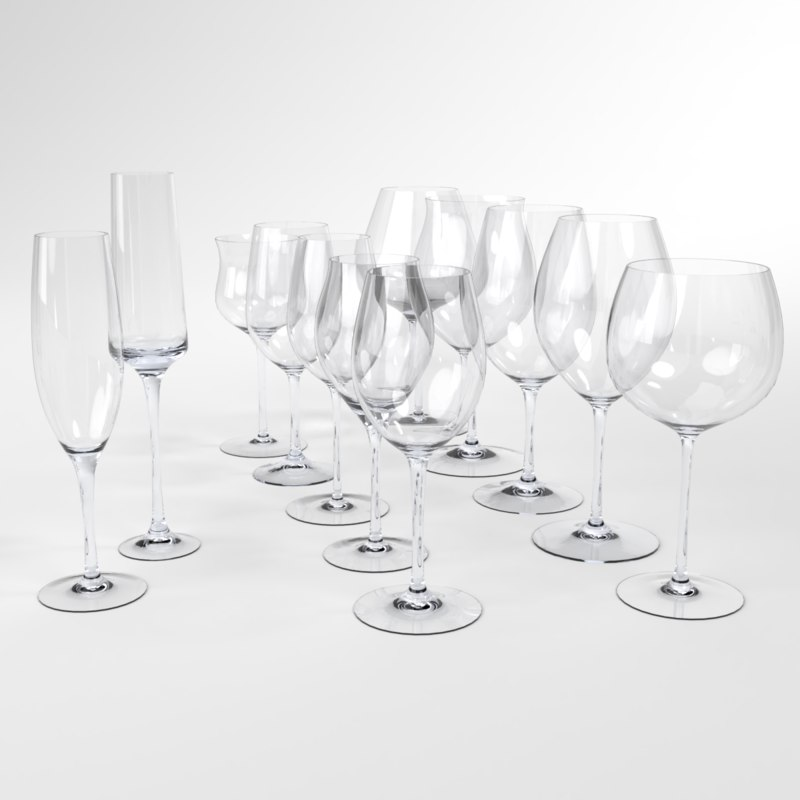 3D blender set wine glass