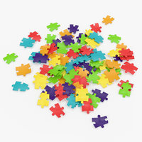 colored puzzle pieces 3D model