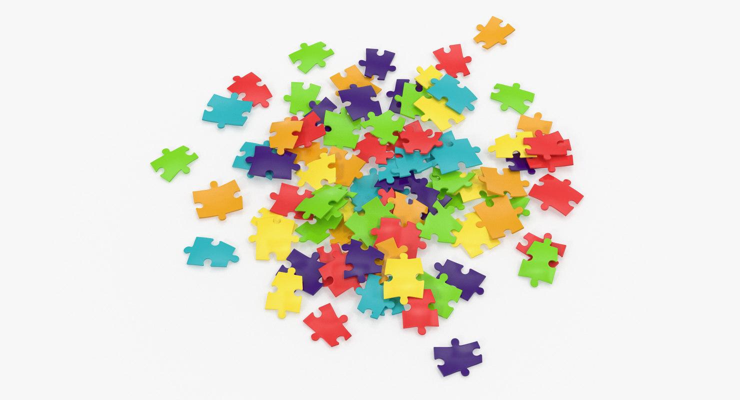 colored puzzle pieces 3D model