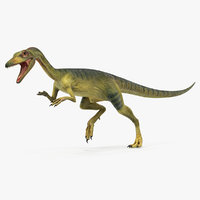 3D model compsognathus dinosaur run pose