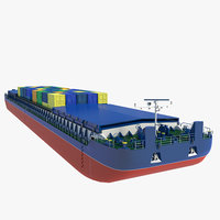 cargo barge containers 3D model