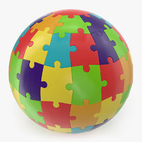3D model colored puzzle globe