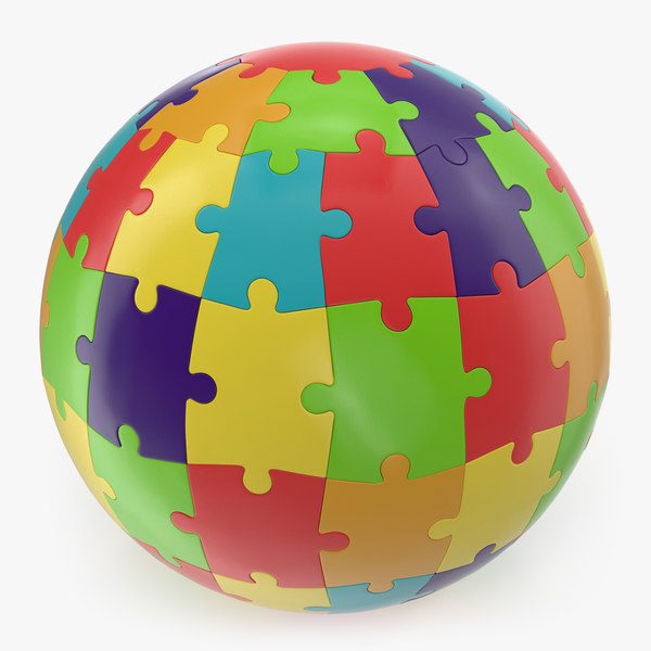 3D model colored puzzle globe