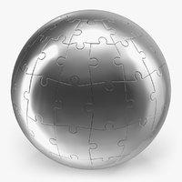 3D chrome globe puzzle model