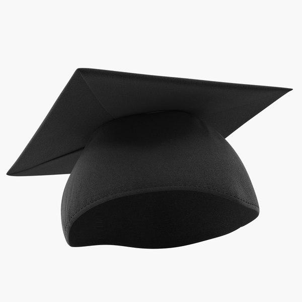 black graduation cap 3D model