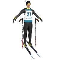 biathlon skier ski 3D model