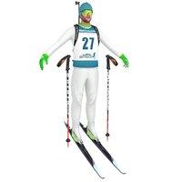3D biathlon skier ski