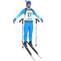 biathlon skier ski 3D
