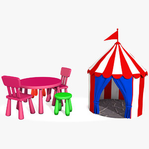 children circus tent table chairs 3D