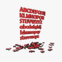 3D letter font alphabet