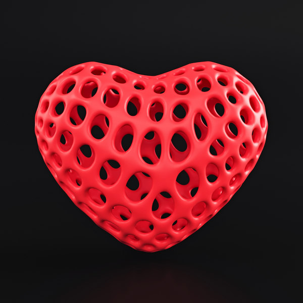 heart symbol wireframe 3D
