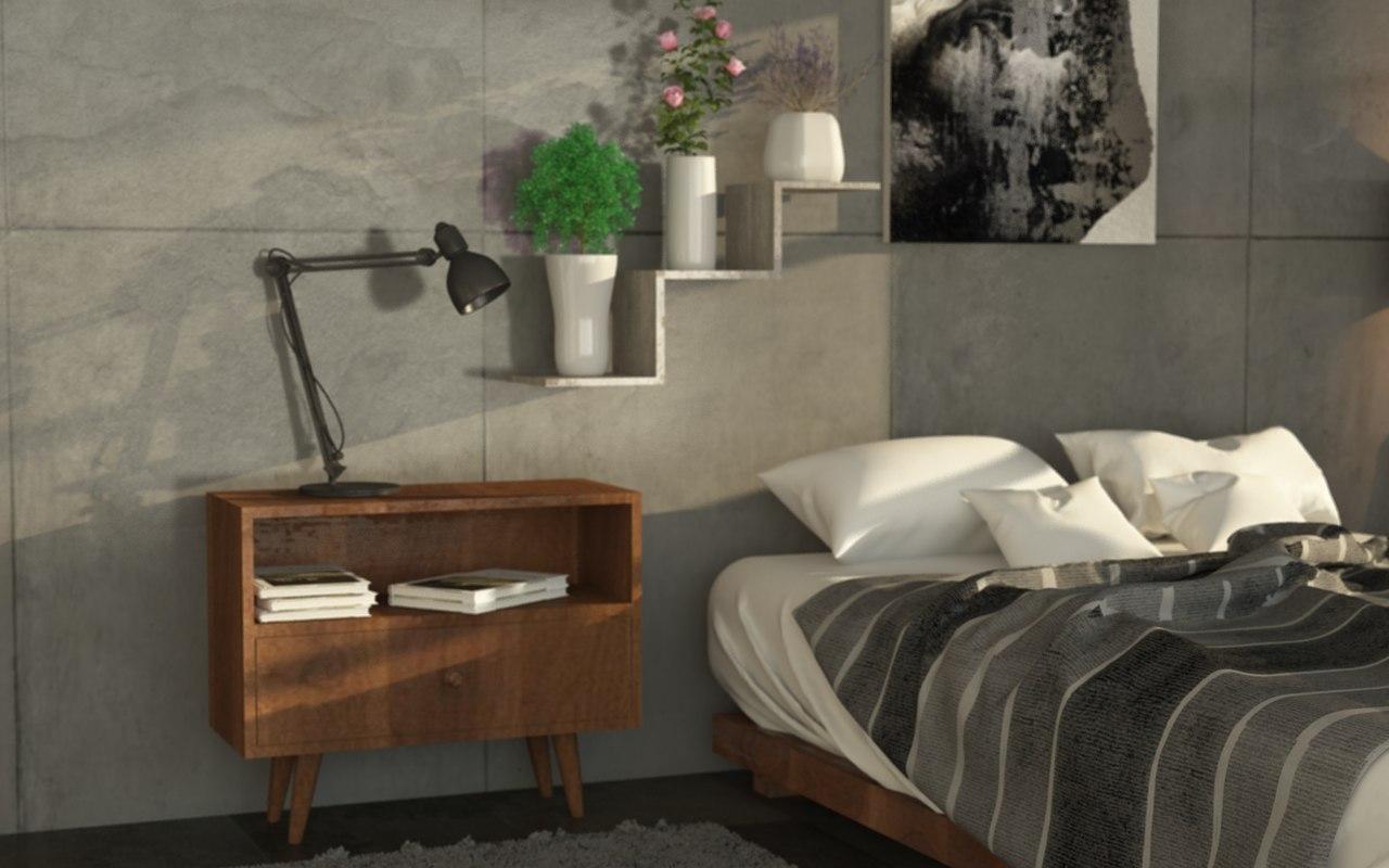 3D Bedroom Realistic Model; 3D Bedroom Realistic Model ...