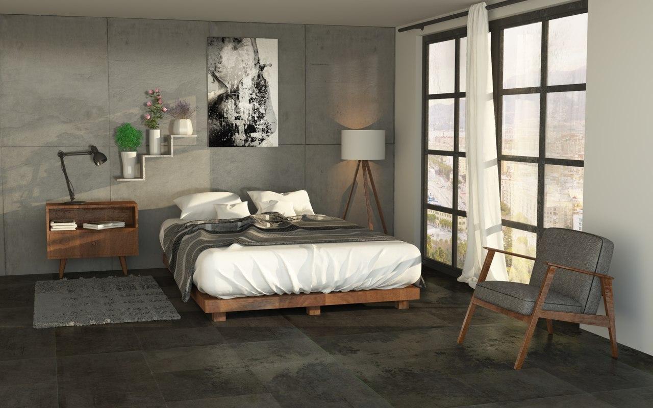 3D Bedroom Realistic Model