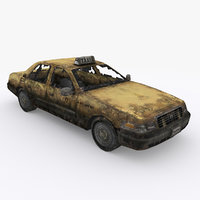 3D old ruined car