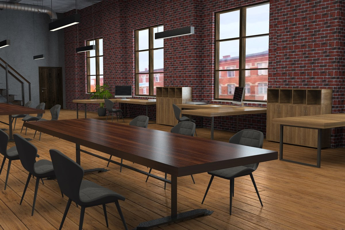 3D office interior scene