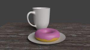 donut plate mug 3D