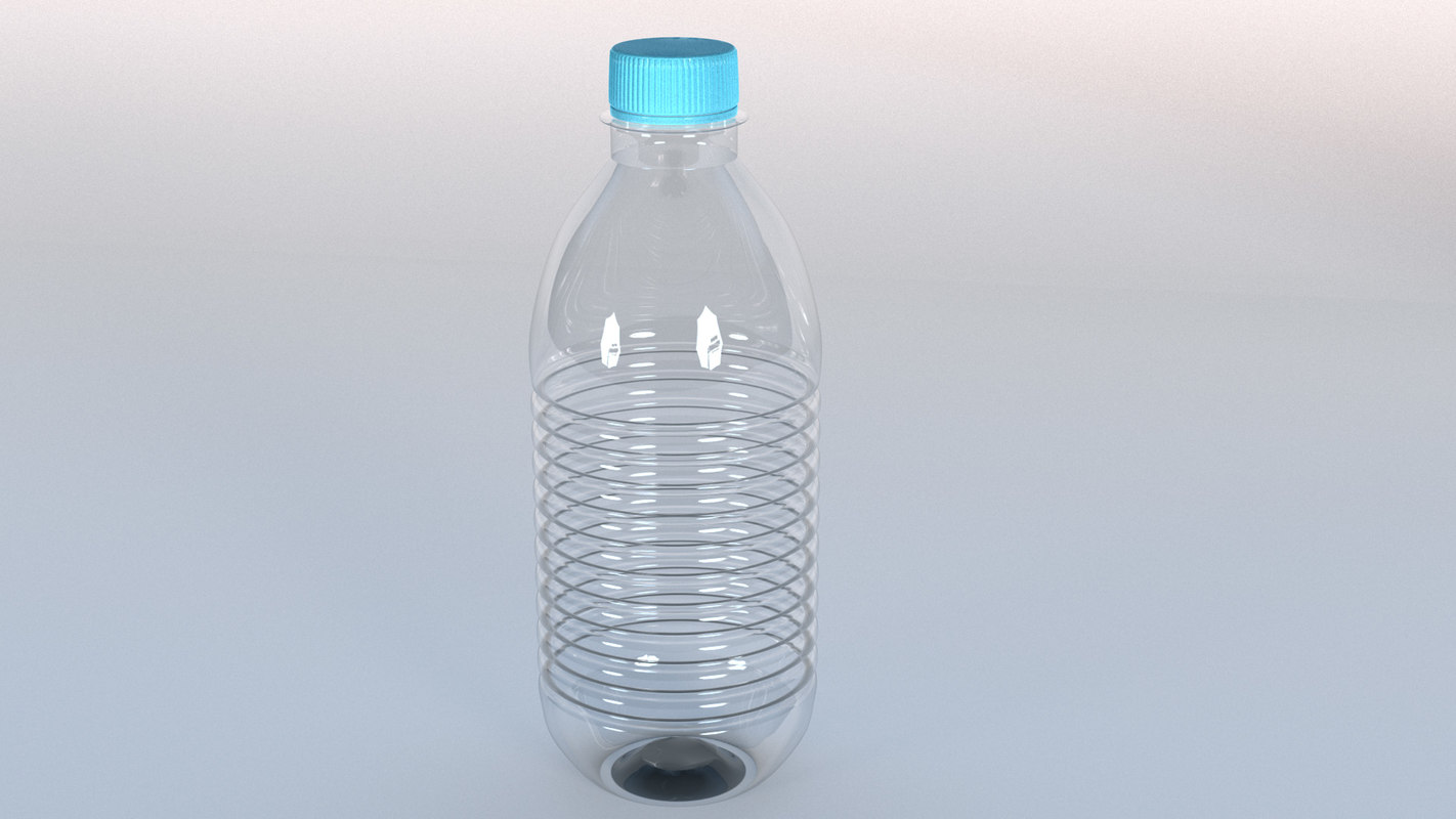 curvy plastic water soda bottle 3D model