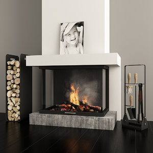 3D gas fireplace
