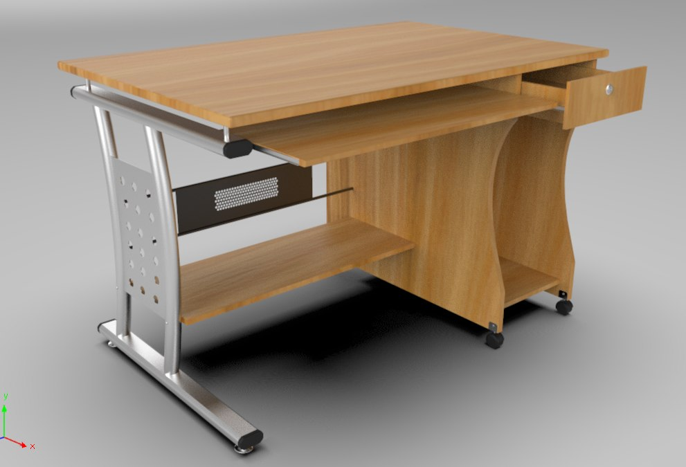 3D rigged pc desk model