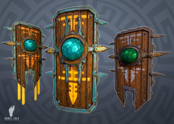 3D aztec shields ready