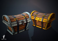 2 Game Ready 3D Treasure Chest Package