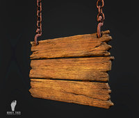 3D hanging wooden sign ready model