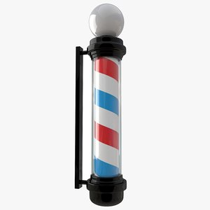 3D barber shop pole black