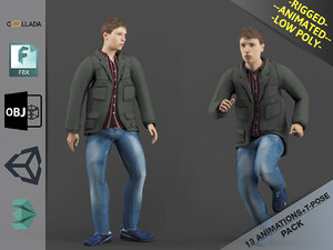animations young man1 pack model
