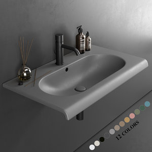 fluid wall-mounted washbasin 3D model