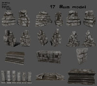 3D model column rock stairs