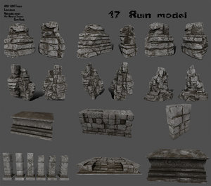 3D model column rock stairs