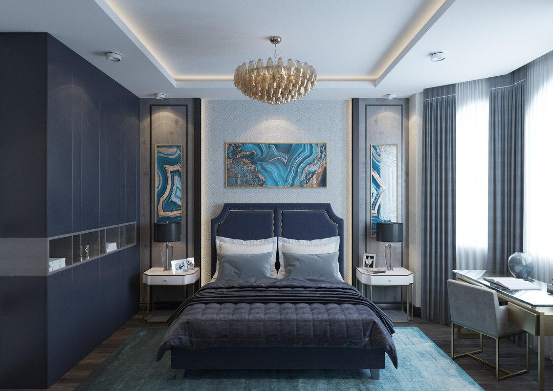 contemporary bedroom scene interior model