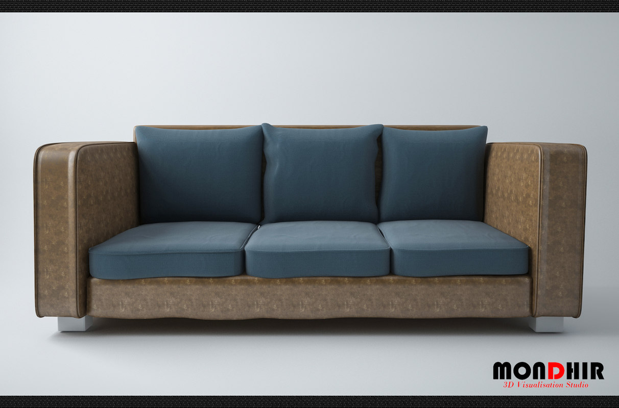 3D modern leather sofa model