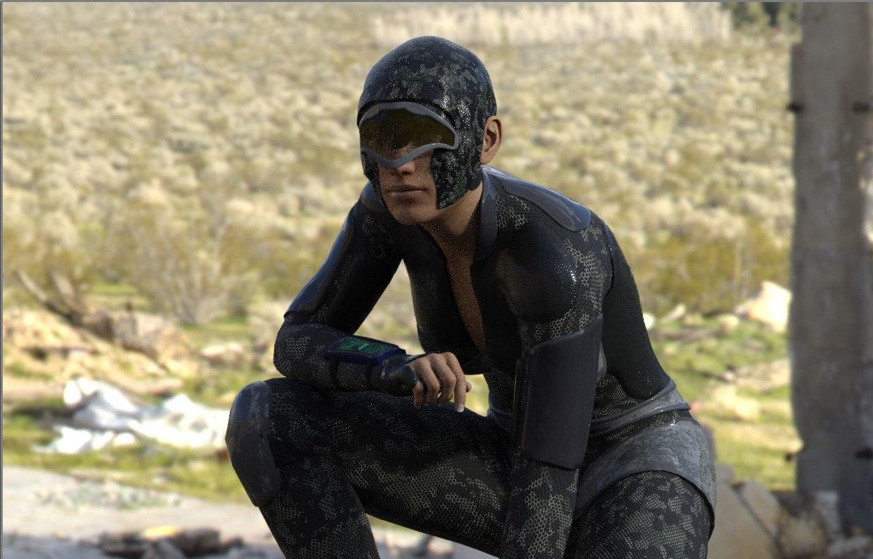 3D character female sci-fi