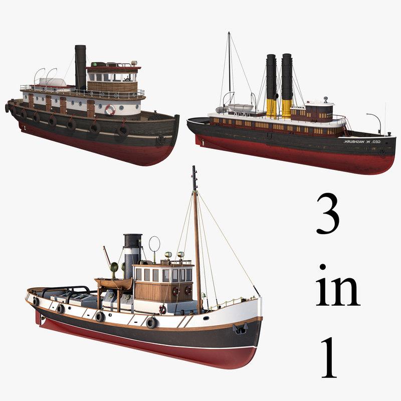 tugboat ships 3D model
