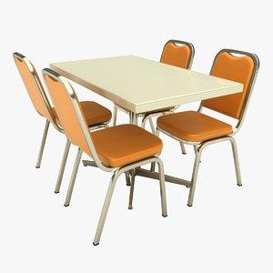 3D restaurant table double