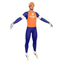 3D model speed skater man