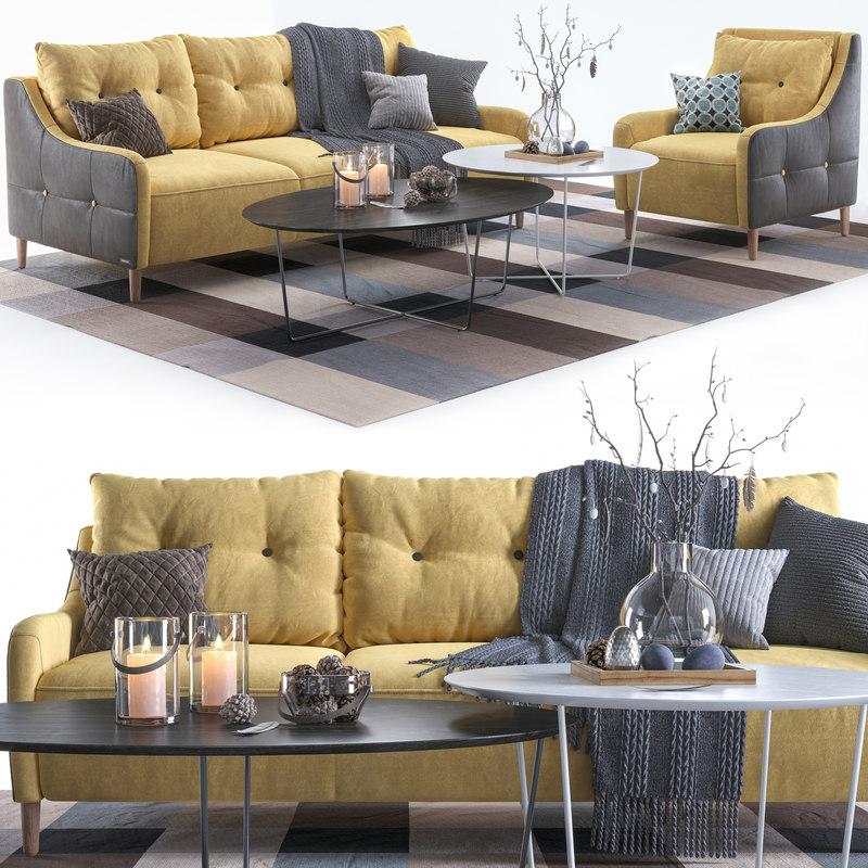 3D pohjanmaan jenson armchair sofa
