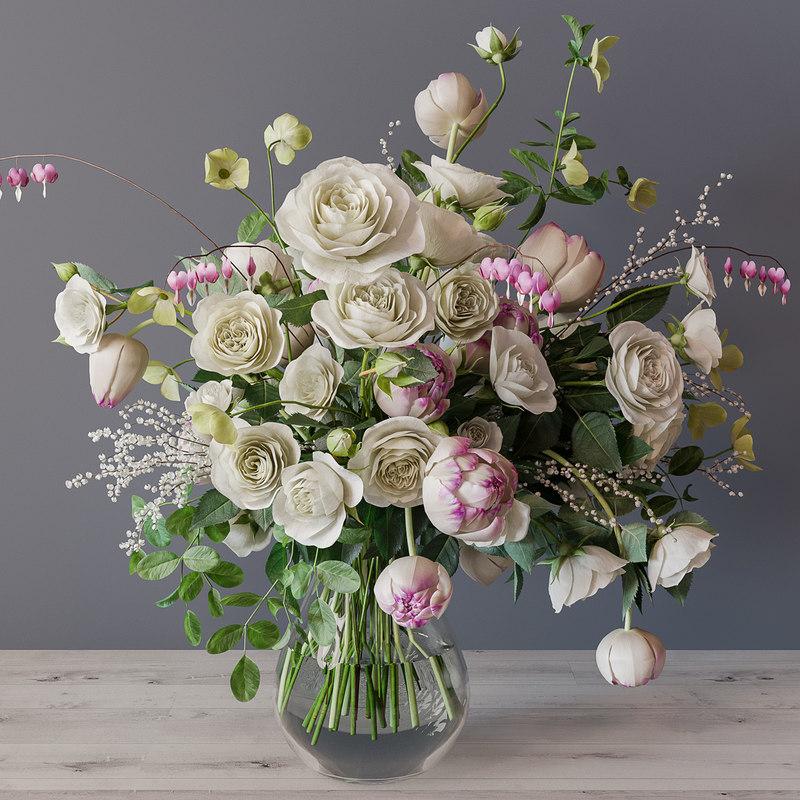roses white bouquet 3D