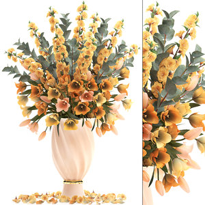 bouquet spring flowers tulips 3D model