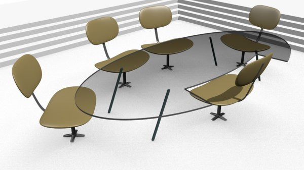 3D table chairs meeting room model