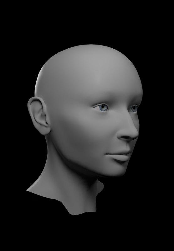 basemesh female head mesh character model