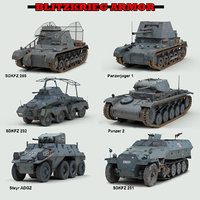 3D ww2 german armored military vehicles model