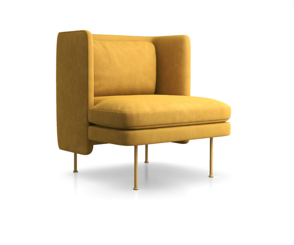 bloke velvet lounge chair 3D model