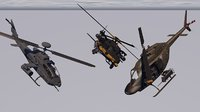 low poly pack of three helicopter gunship support helicopter