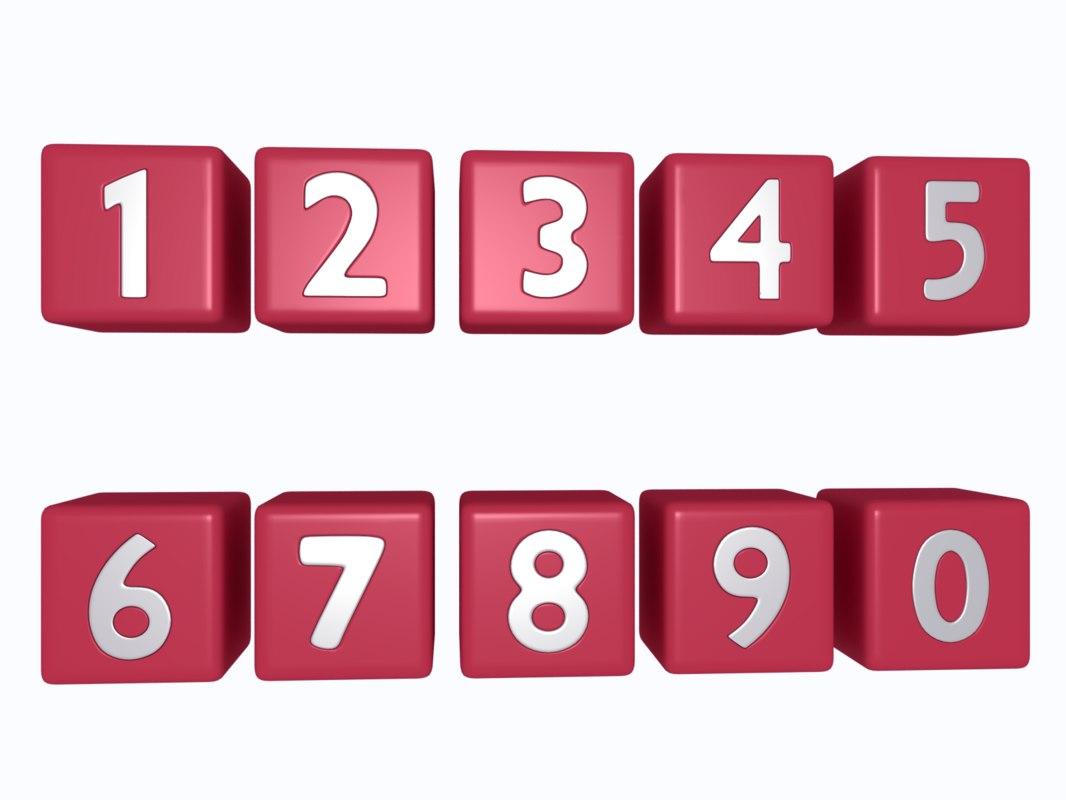 numbers symbols 3D model