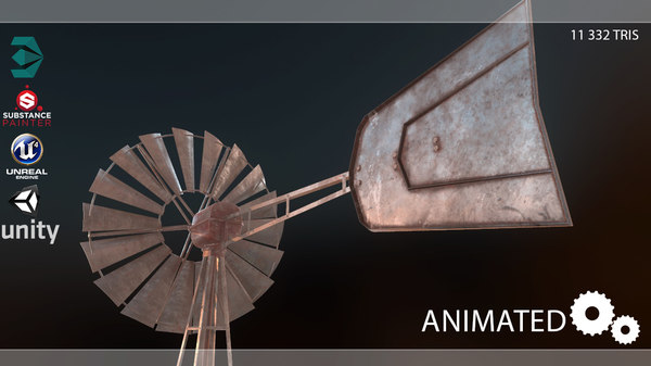 3D windmill pbr low-poly vr
