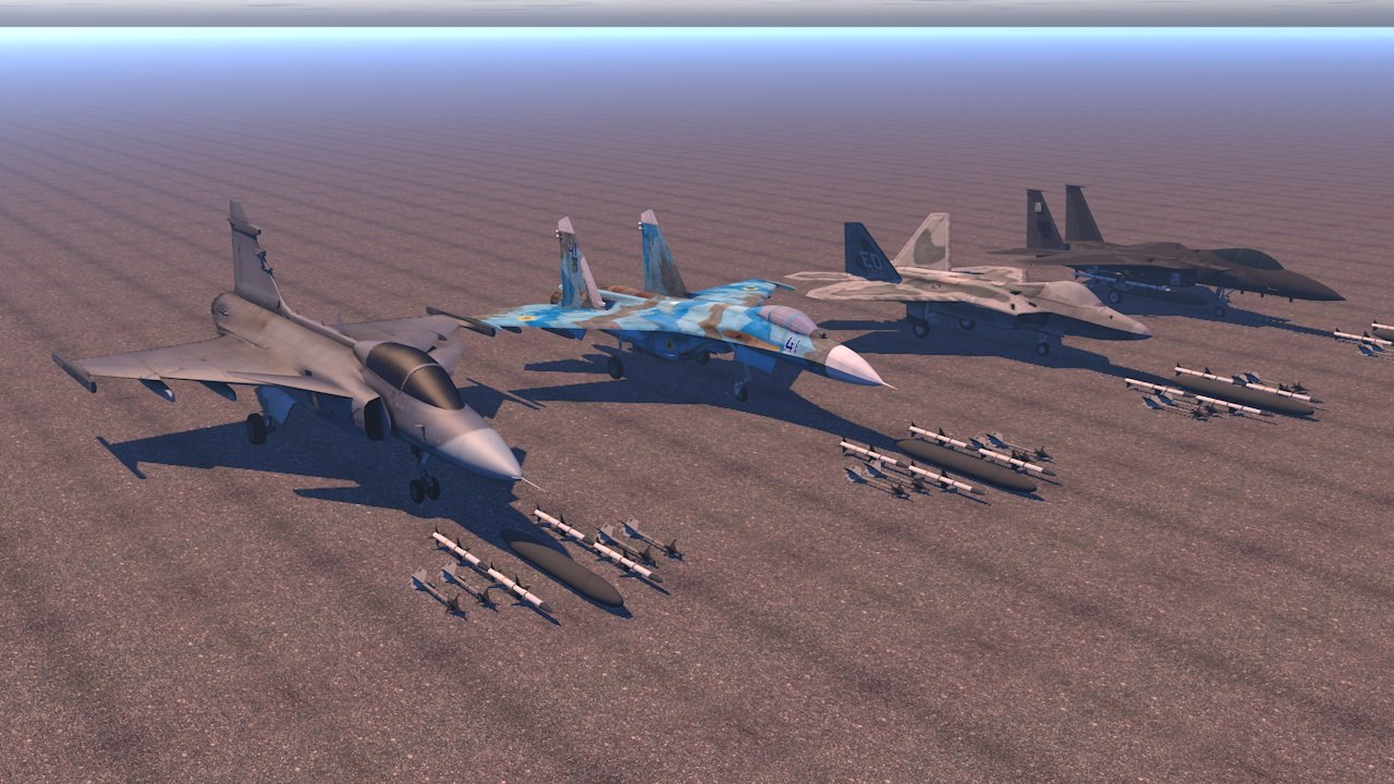 pack military aircraft su27 3D model