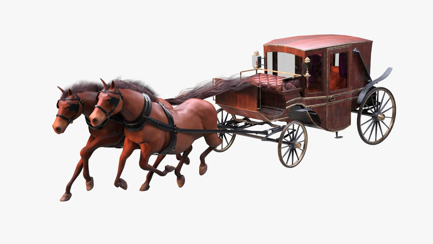 rigged carriage horses animations 3D model