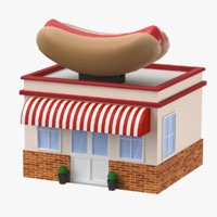 Cartoon Hot Dog Restaurant Low Poly 3D Model